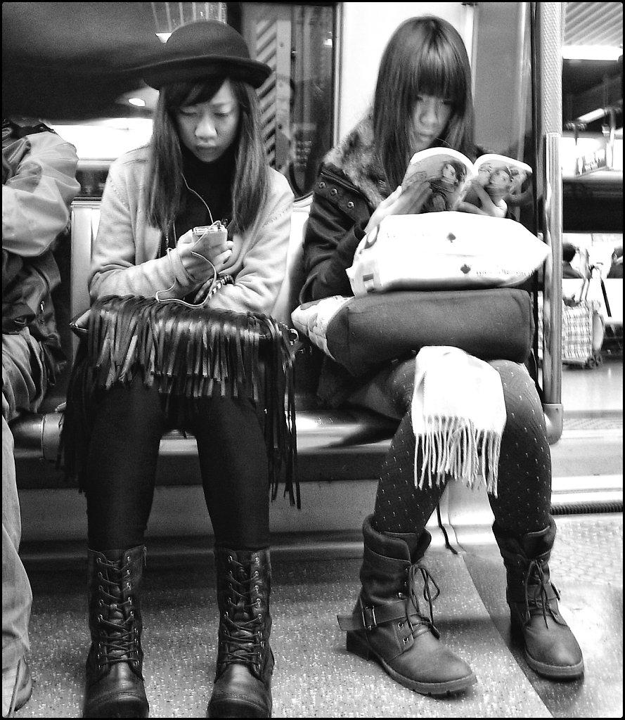 Girls in metro Hong Kong